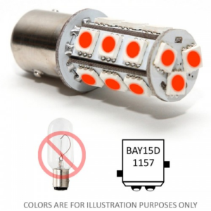 Bajonet led lampje BAY15D rood bay15d red